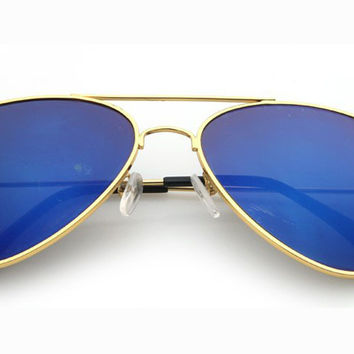 Blue Mirror Aviator Sunglasses Gold Frame