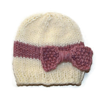 Knitted Baby Bow Hat / cream chunky baby hat with Dusky Pink bow / Knit bow beanie