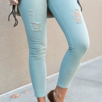 Distressed Skinny Colored Denim
