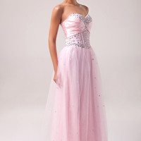 Light Pink Strapless Beaded  A-Line Maxi Evening Dress