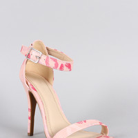 Anne Michelle Lip Print Open Toe Heel