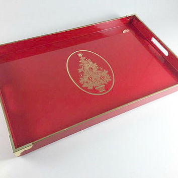 Vintage Red Gold Lacquer Christmas Tree Serving Tray Otagiri Japan By Gibson Lacquerware Holiday Party Retro TV Tray Serving Platter