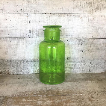 Canister Large Glass Canisters Green Kitchen Canister Vintage Storage Craft Room Whimsies Jar Glass Lidded Jar Farmhouse Kitchen Decor