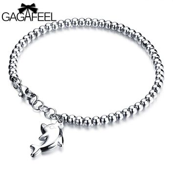 GAGAFEEL Women Bead Cuff Bracelets&Bangles Lovely Dolphin Strand Bracelets Stainless Steel Bangle Wrap Watch Jewelry Girls Gifts