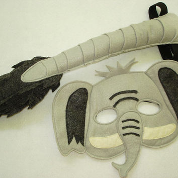 Children's Safari Animal ELEPHANT Felt Mask and Tail Set