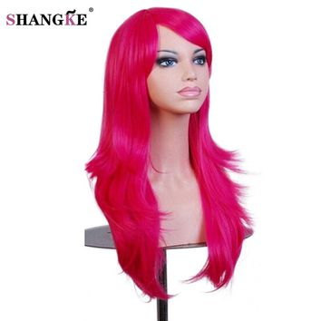 SHANGKE Long Wavy Red Wig With Bangs Natural Heat Resistant Synthetic Cosplay Wig African Wigs For Black Women Hair Pieces