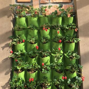 Outdoor 18 Pocket Indoor Balcony Herb Vertical Garden Wall Hanging Planter Bag felt plants bags