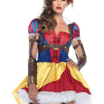 DCCKLP2 3PC.Rebel Snow White,high/low dress ,body harness,bow headband in MULTICOLOR