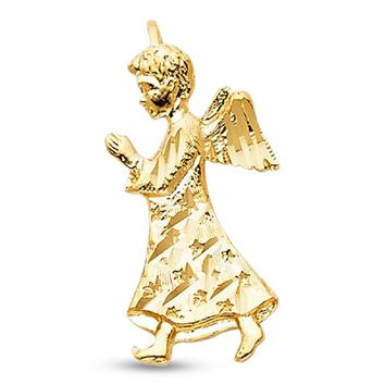 Angel Pendant 14k Yellow Gold Solid Religious Charm Prayer Design Christian Jewelry 21 x 11 mm