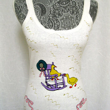 Woman Tank Top Hand Painted - Rocking Chair and Ducks - White All Cotton Size Large, Snug Fit, Beach, Gym, Yoga, Everyday Wear