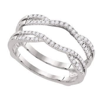 14kt White Gold Womens Round Diamond Wrap Ring Guard Enhancer Wedding Band 1/3 Cttw