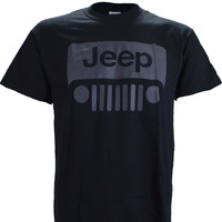 Jeep Wrangler Grey Logo on a Black Short Sleeve T Shirt