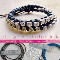 $20.00 leather wrap rhinestone bracelet diy kit / materials by julysupply