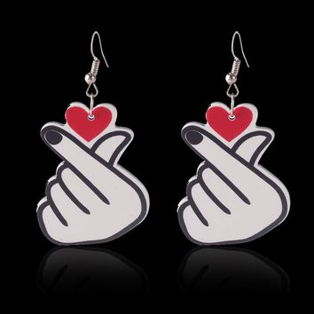 Crazy Feng New Funny Couple Jewelry I Love You Finger Drop Earring For Women Love Heart Dangle Earring Wedding Party Gift