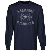 New Hampshire Wildcats University Lockup Long Sleeve T-Shirt - Navy Blue