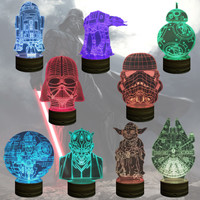 Star Wars 3D Wood Bulbing LED Color Changing Light BB-8 AT-AT Death Star Millennium Falcon Darth Vader Stromtrooper R2D2