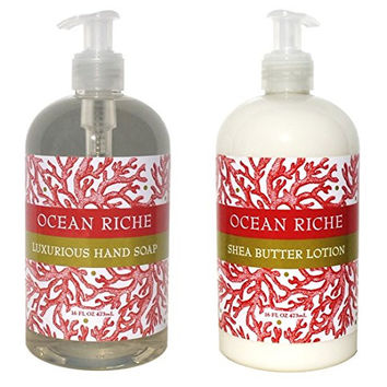 Greenwich Bay Ocean Riche Hand & Body Lotion and Ocean Riche Hand Soap Duo Set Enriched with Shea Butter and Cocoa Butter 16 oz each