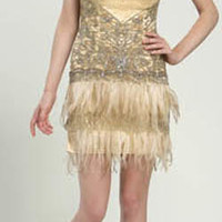 Sue Wong 2013 Prom Dresses - Strapless Gold Feather & Beaded Flapper Dress