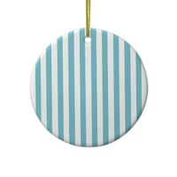 Blue Curacao And Vertical White Stripes Patterns Ornaments from Zazzle.com