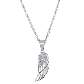 """Sterling Silver Angel Wing Pendant CZ Fashion Necklace, 18"""""""