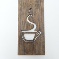 Kitchen Art Coffee Sign Modern Wood Home Decor Unique Wall Art