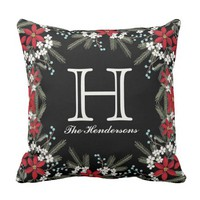 Monogrammed Holiday Theme Floral Decor Throw Pillow