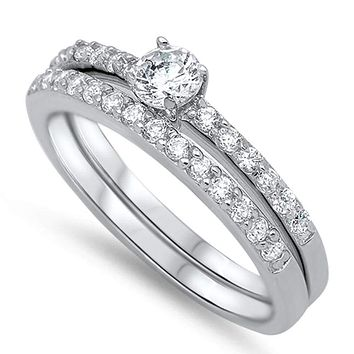 Sterling Silver Round 1/2 Carat Cubic Zirconia Engagement Ring Set on Pave Bands