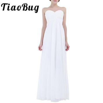 TiaoBug Women Ladies Embroidered Formal Party Ball Gown Prom Princess Bridesmaid Wedding Chiffon Maxi White Summer V-Neck Dress