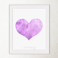 Lavender purple heart art print, Baby purple decor wall print, Light purple art Purple PRINTABLE wall art print, Girls room decor Lilac art