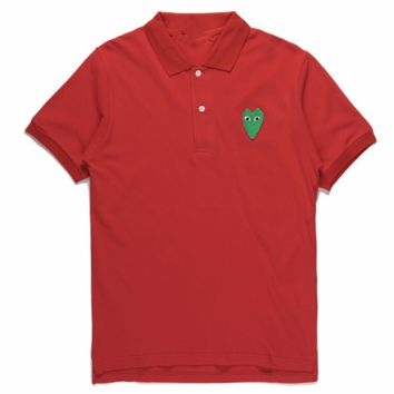 PLAY Tide brand cotton lapel embroidery love men and women models POLO shirt red