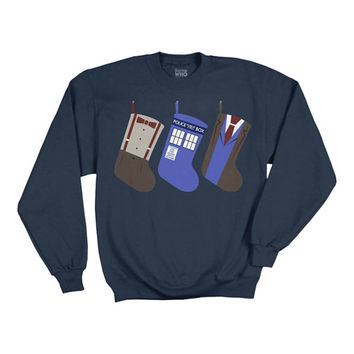 Doctor Who Christmas Stockings Blue Sweater - Ripple Junction - Doctor Who - Sweatshirts at Entertainment Earth