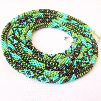 Long Beaded Crochet Rope Necklace - Beadwork - Seed beads jewelry - Elegant - Geometric  - Patchwork - Green - Olive green - Turquoise