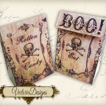 INSTANT DOWNLOAD Halloween Favor Bag treats instant download printable image digital collage sheet 138