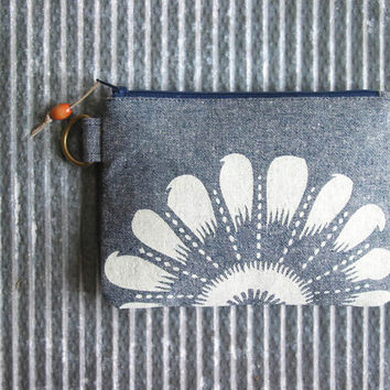 Clutch Purse Recycled Denim Ivory Floral Change Purse Screenprint Made in Nashville Accessories Women