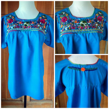 Vintage 70s Blouse Mexican Embroidered 1970s Peasant Hippie Top 34 Bust
