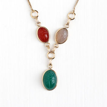 Vintage 12k Rosy Yellow Gold Filled Scarab Gem Necklace - Retro Carved Colorful Green Chalcedony & Carnelian Egyptian Revival Beetle Jewelry