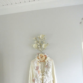 Lace ruffle cardigan, crochet top, Lagenlook farm girl clothing, gypsy cowgirl, Victorian magnolia white, shabby ecru, true rebel