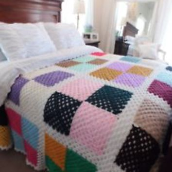 Handmade Country Knit Crochet Large Blanket Bed Spread Granny Square 108 x 82