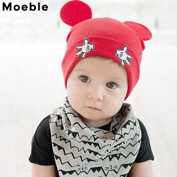 Moeble Baby Hats Warm Cotton Knitted Kids Newborn Caps Infant Cartoon Hats Lovely Mouse Boys Girls Caps Beanie Hats 1pc H760
