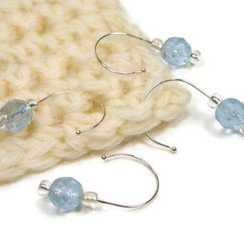 Removable Stitch Markers, Crochet, Knitting, Snag Free, Beaded, Sky Blue, DIY Crafts, Gift, TJBdesigns