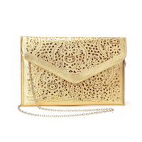 Cut-out Design Clutch Bag in Gold