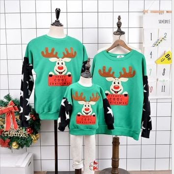 Family matching clothes for women men couples pullovers long sleeve t shirts-Christmas sweaters