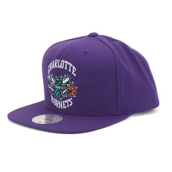 Charlotte Hornets Mitchell & Ness Vintage Basic Logo Purple Snap Back Hat