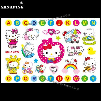 SHNAPIGN Cute Hello Kitty Cats Child Temporary Tattoo Body Art Flash Tattoo Stickers 17*10cm Waterproof Henna Styling Sticker
