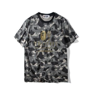 Round-neck Short Sleeve Camouflage Alphabet Men Casual T-shirts [1918874026081]