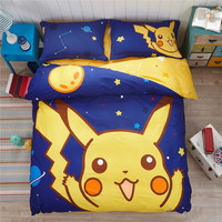 Luxury Pokemon 4Pcs 100% Cotton Child Cartoon Pattern Bedding Sets Include Duvet Cover Bed Sheet Pillowcase Set Full Queen Size