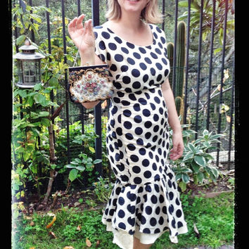 1940's Polka Dot Mermaid Dress, Black and White, Silk, Size US-10