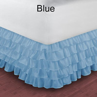 1000TC Egyptian Cotton Blue Multi Layered Ruffle Bed Skirt  - Available in All Size