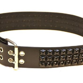 "3-Row Black 5/8"" Pyramid Stud Black Leather Belt 2 1/2"" Wide"