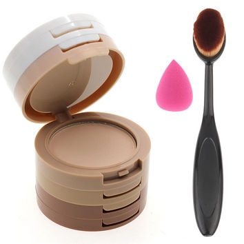 5 Color Face Corrector Shading Pressed Powder Minerals Makeup Kit with 1pcs Makeup Cosmetic Brush& 1pcs Sponge Waterdrop Set